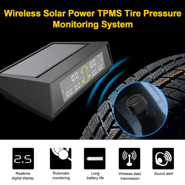 TPMS système de contrôle de pression des pneus   Énergie solaire TPMS 6 capteurs externes pour pneus 4-6 remorques de remorquage pour camions RV (0-130PSI)