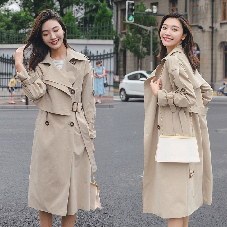 2019Autumn winter new coat   trench   coat oversize long   trench   casual women's long coat pocket tie with belt + cuff duster Coats