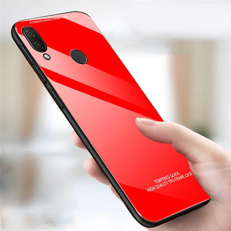 Caixa Do Telefone de luxo Para Huawei P20 P30 Pro Lite Cor Sólida Fronteira TPU Macio Tampa De Vidro Temperado Para Huawei Nova 3e P Inteligente 2019