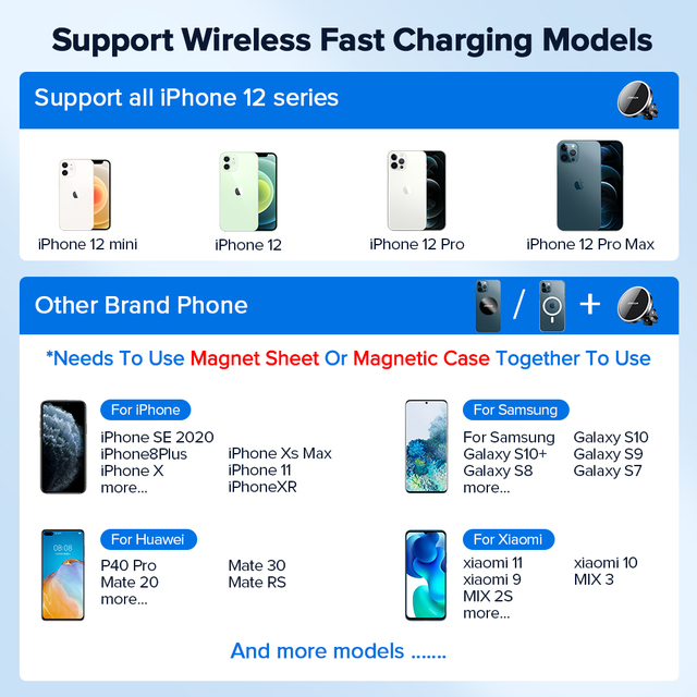 15W Qi Magnetic Wireless Car Charger Phone Holder for iPhone 12 Pro Max Universal Wireless Charging Car Phone Holder for Huawei 6