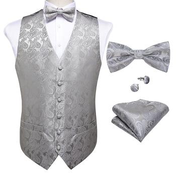 New Teal Green Paisley 100% Silk Formal Dress Vest Men Waistcoat Vest Wedding Party Vest Tie Brooch Pocket Square Set DiBanGu 30