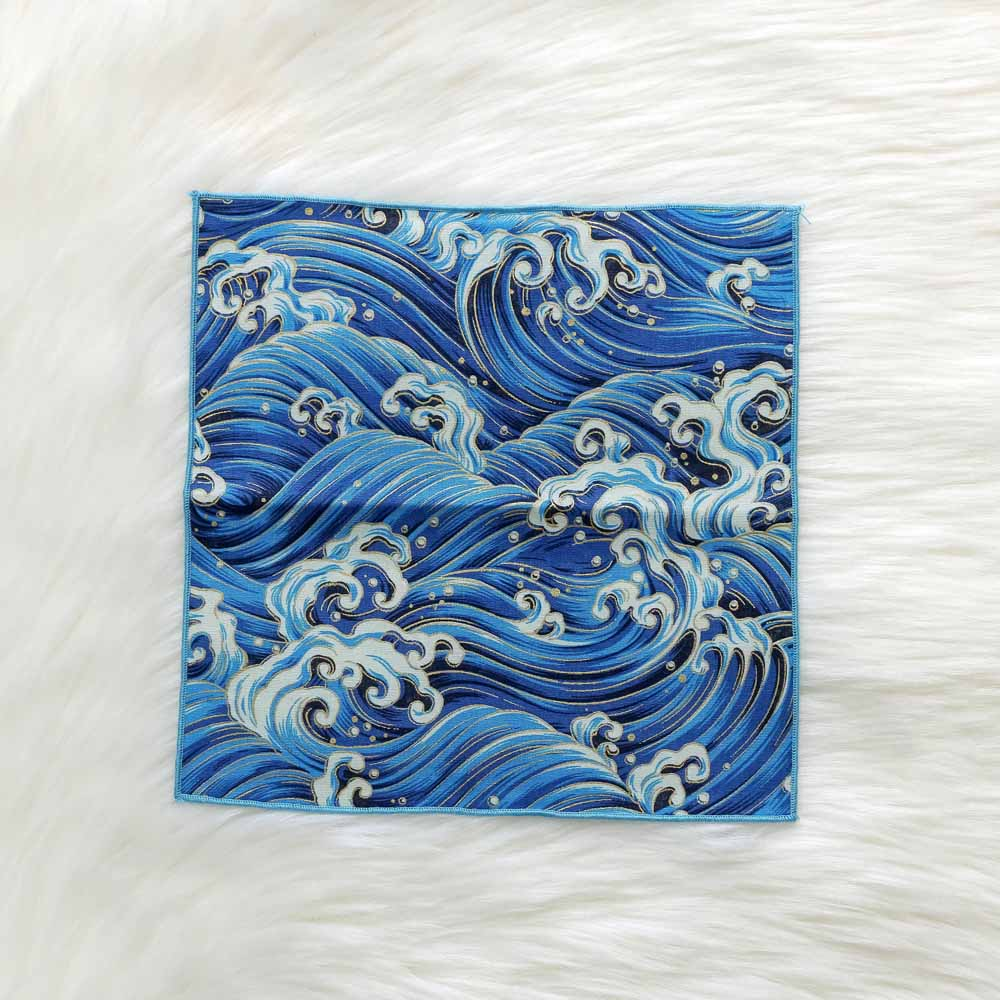 Handkerchief Japanese Style Hand-Made Fabric And Wind Pocket Cotton Satin Bronzing Butterfly Waves Cherry Blossom Crane 12Color