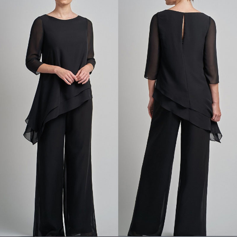 Robe De Soiree Elegant Black Half Sleeves Chiffon Mother Of The Bride Pant Suit Plus Size Formal Dress For Wedding Party