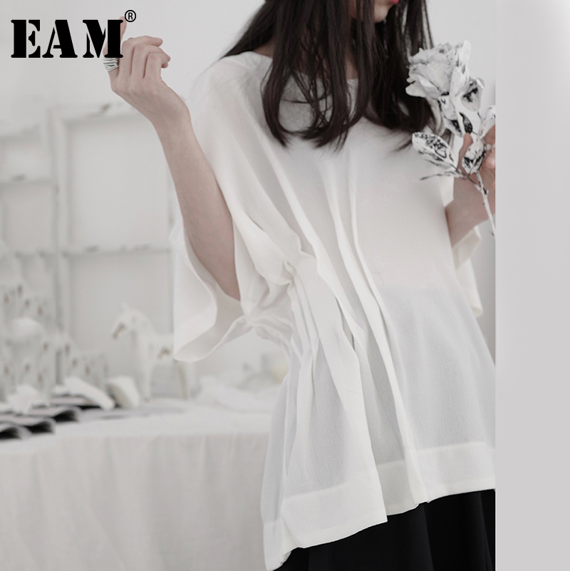 [EAM] Women White Pleated Split Joint Big Size T-shirt New Round Neck Half Sleeve  Fashion Tide  Spring Summer 2020 1T533