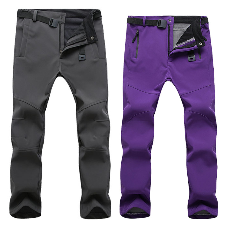2019 winter Fleece Hiking Pants Men&Women Outdoodr Warm Softshell Waterproof pants Thermal Camping Skiing Trekking Climbing pant-in Hiking Pants from Sports & Entertainment