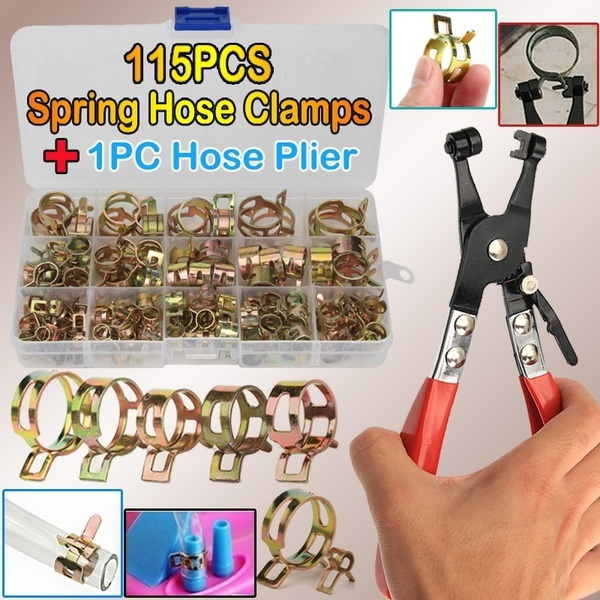 115 PCS Zinc Plated 6-22mm Spring Hose Clamps + 1PC Straight Throat Tube Clamp for Band Clamp Metal Fastener Assortment Kit