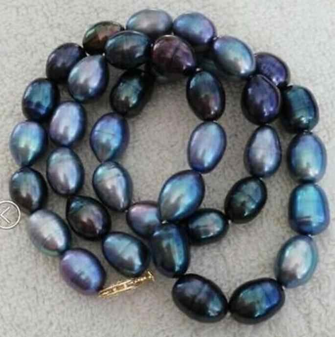 Jewelry Pearl Necklace singlestrands 12-13mm Tahitian black blue baroque pearl necklace Free Shipping