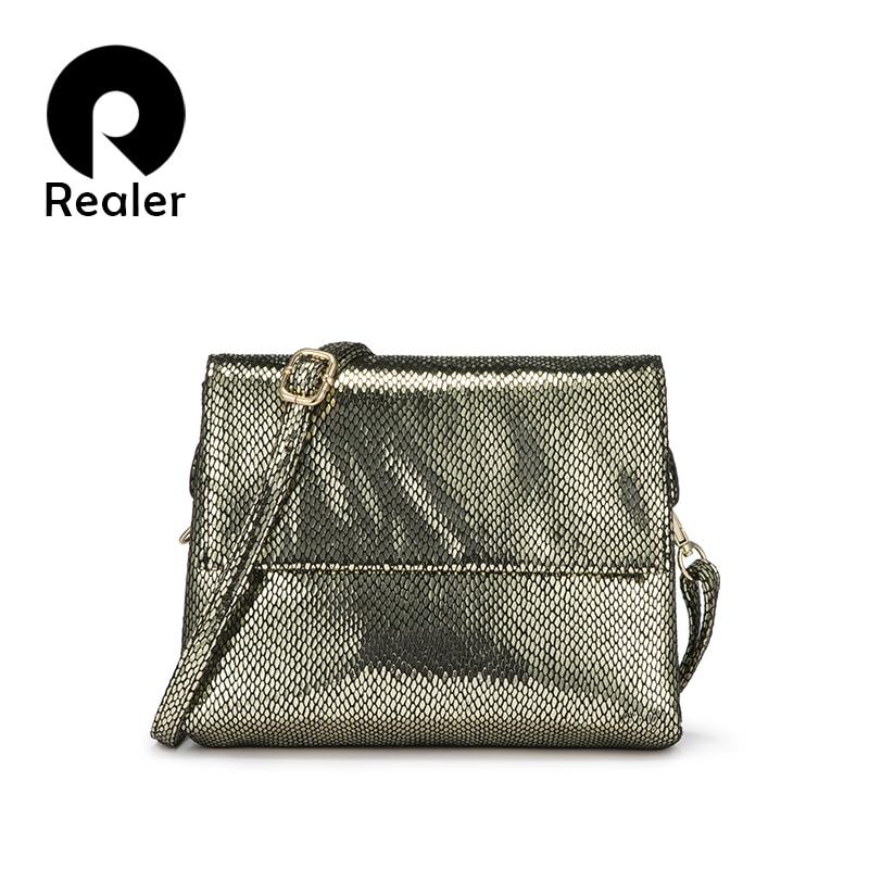 Realer Women Bag Shoulder Bag Messenger Bag For Women Flap Crossbody Bags Fashion Classic Female Small Square Bag PU Leather