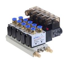 цена на 1pcs 5 Way Pneumatic Combination 4V210-08 12V 24V 110V 220V 2 Position Single Head Pneumatic Solenoid Valve w Base