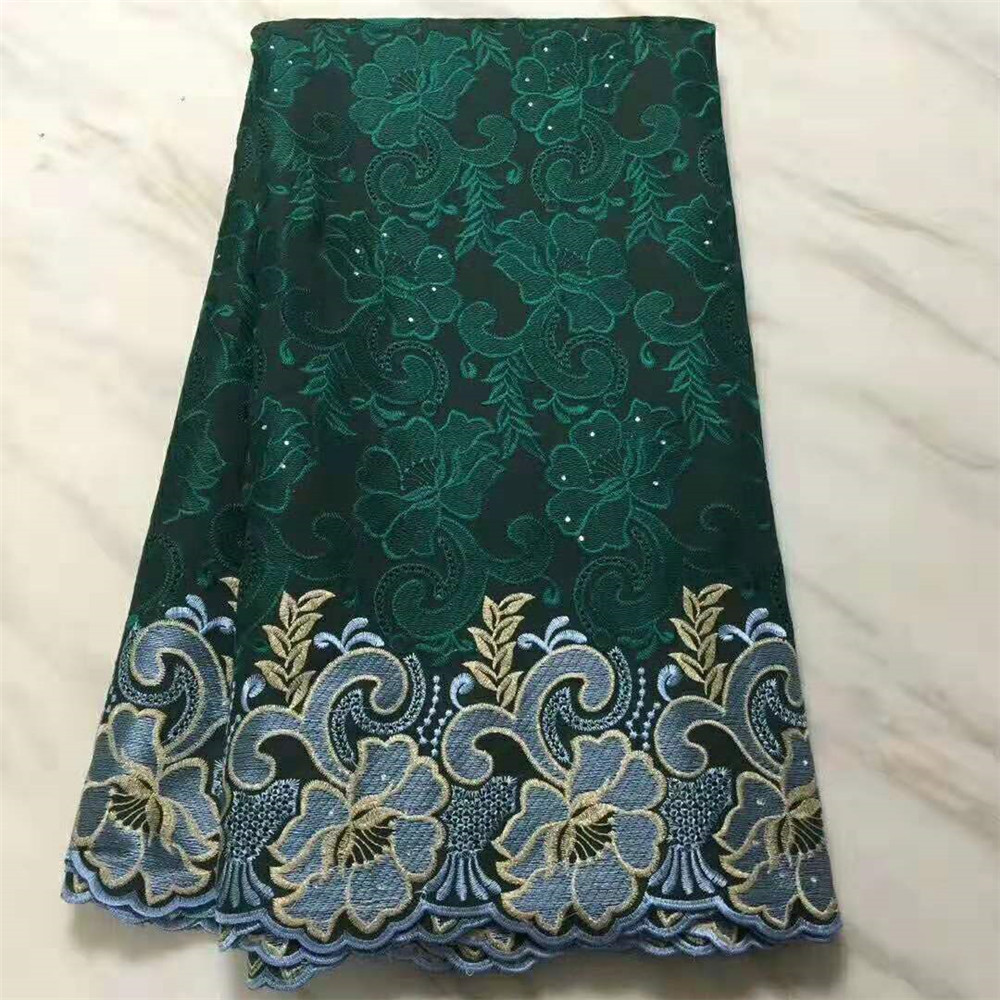 High Quality African Nigeria Voile Tulle Beads Floral Lace Fabric French Swiss Net Guipure Lace Fabrics For Women Clothing