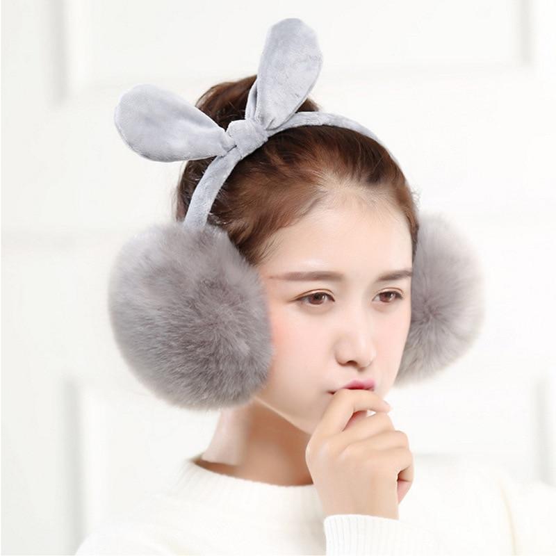 Adorable Girls Rabbit Fur Winter Earmuffs Cache Ear Warmer Autumn Comfort Ear Muffs Warm Winter Snowing Ski Earmuffs For Women