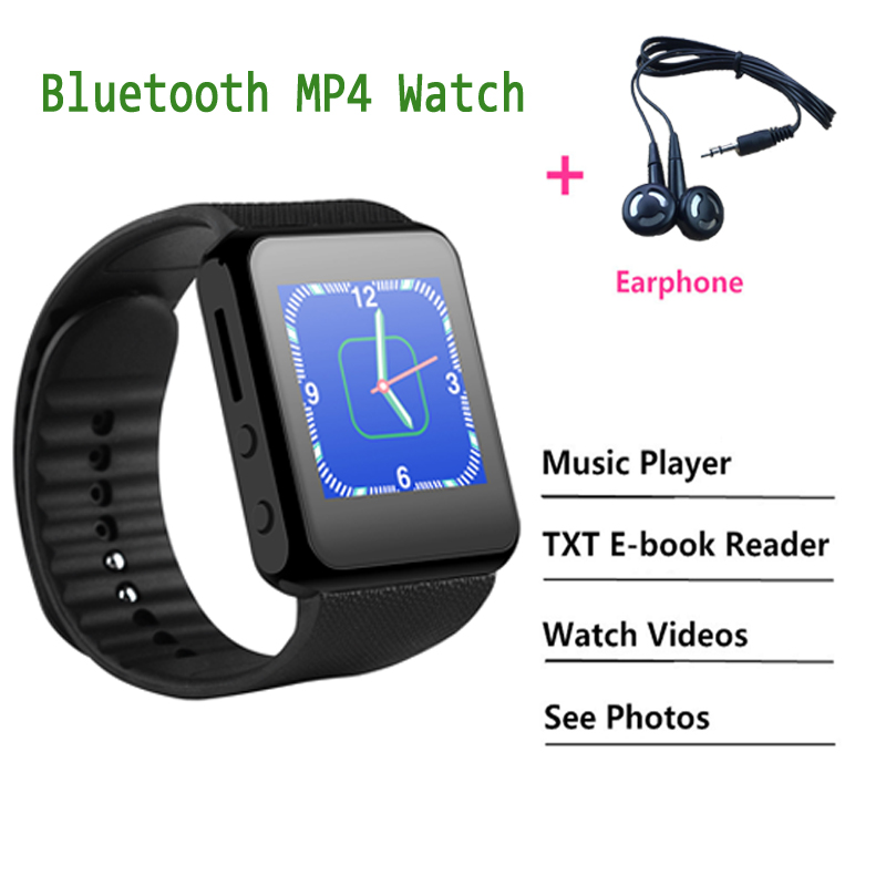 Bluetooth <font><b>Smart</b></font> <font><b>Watch</b></font> MP3 MP4 Player with Earphone Support E-book Reader Music Video Picture Viewer <font><b>Watch</b></font> MP 4 MP3 <font><b>watch</b></font> VS DZ12 image