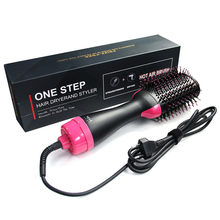 Electric Heating Comb Hair Straightener Curler Professional Salon One Step Dry Wet Two Using Hair Dryer Brush Negative Ion(China)