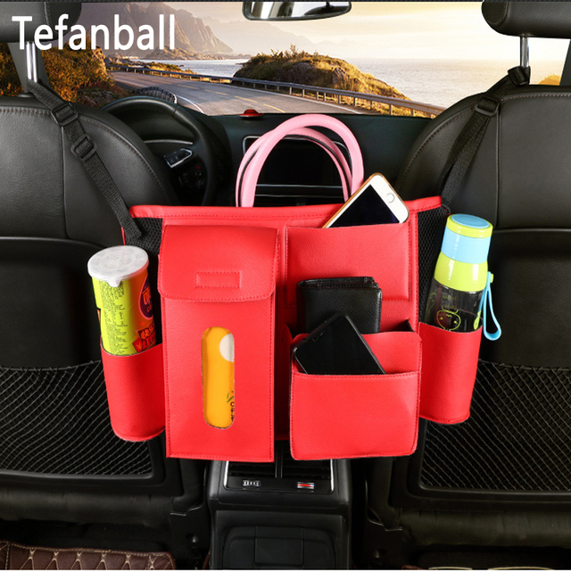 Multifunction Car Rear Seat Back Storage Bag PU Leather Hanging Organizer Bag Auto Stowing Tidying Interior Accessories Supplies