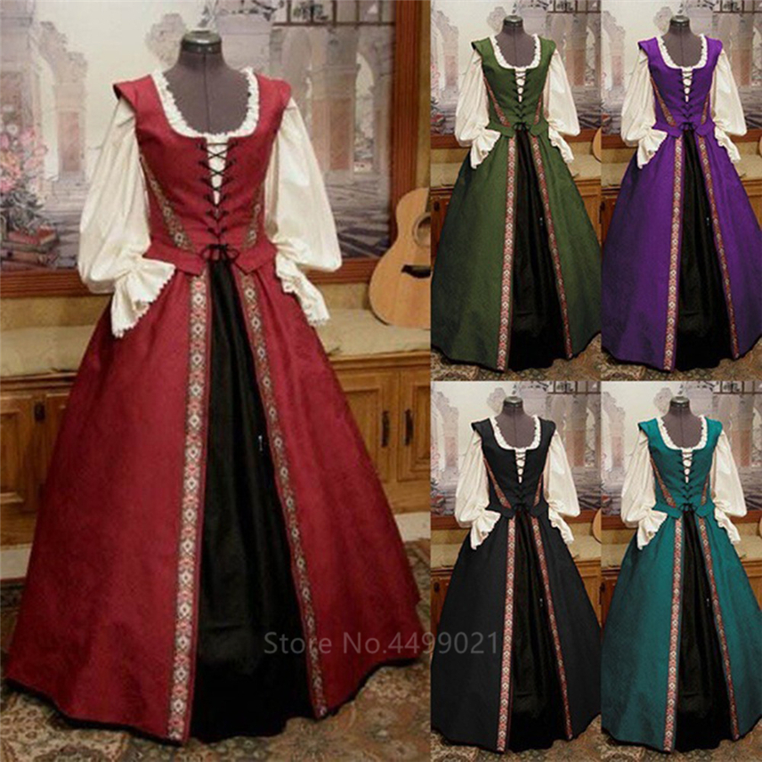 Cosplay Medieval Renaissance Gown Robe Victoria Palace Princess Dress Halloween Carnival Party Costumes For Women Adult Costumes