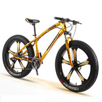 Bike Snow Bicycle Adult Men and Women Mountain Cross Country Wide Tire Speed Student Disc Brakes Shock 26 Inch Five Knife Wheel
