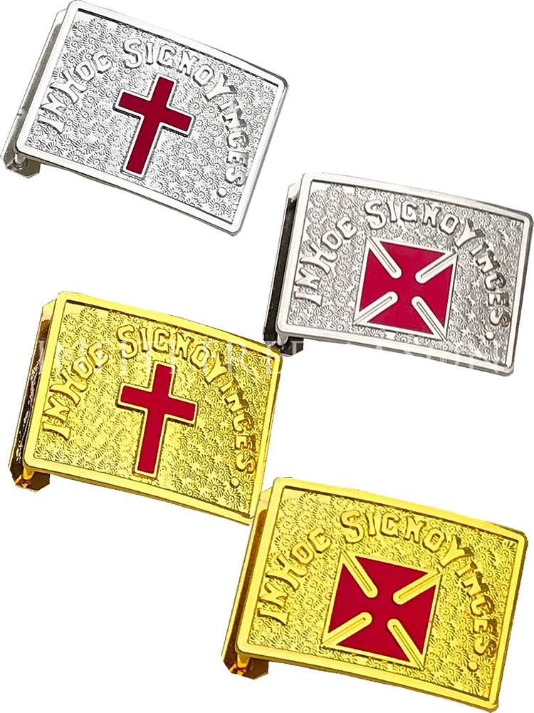 Grand Commander Masonic IN HOC SIGNO VINCES Red Cross Templar Shield Belt Buckle Knights Templar Belt Red Buckle Gold