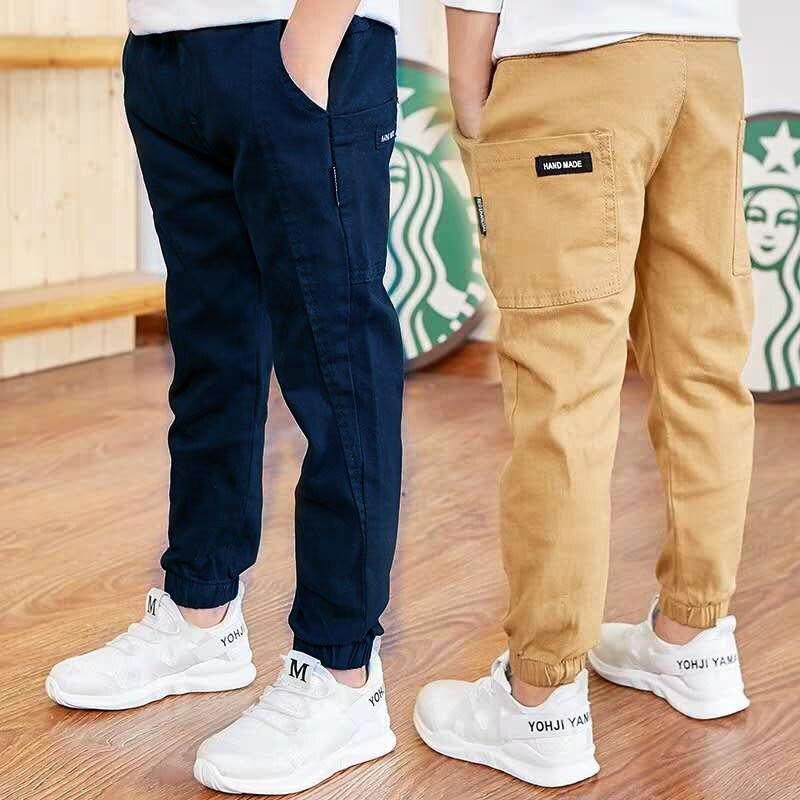 INS chicos populares pantalones 4-13 años algodón viejo pantalones coreanos casuales de los niños de primavera y otoño pantalones de empalme bolsillos grandes