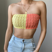 Summer Women Sexy Grid Tube Top Strapless Bandeau Sleeveless Wrap Chest