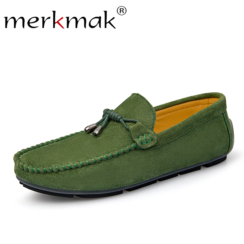 Merkmak Suede Loafers Genuine Leather Men Shoes Casual Dress Shoes Men's Slip On Breathable Size 38-48 Driving Shoes For Man