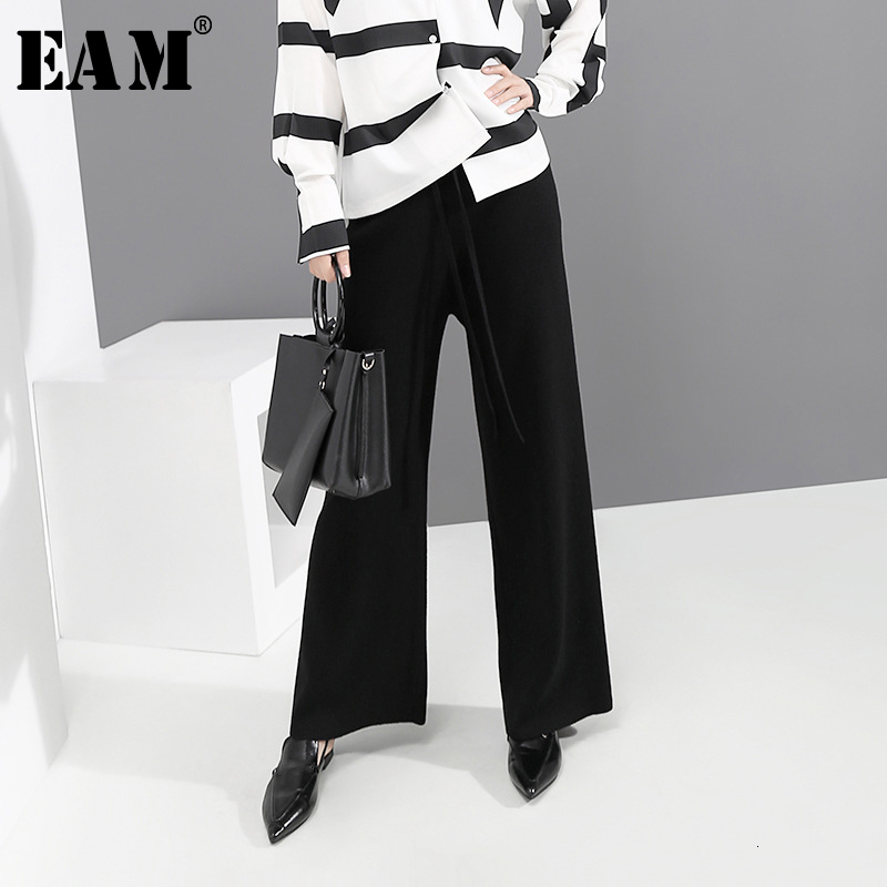 [EAM] High Elastic Waist Black Brief Long Wide Leg Trousers New Loose Fit Pants Women Fashion Tide Spring Autumn 2019 1D744