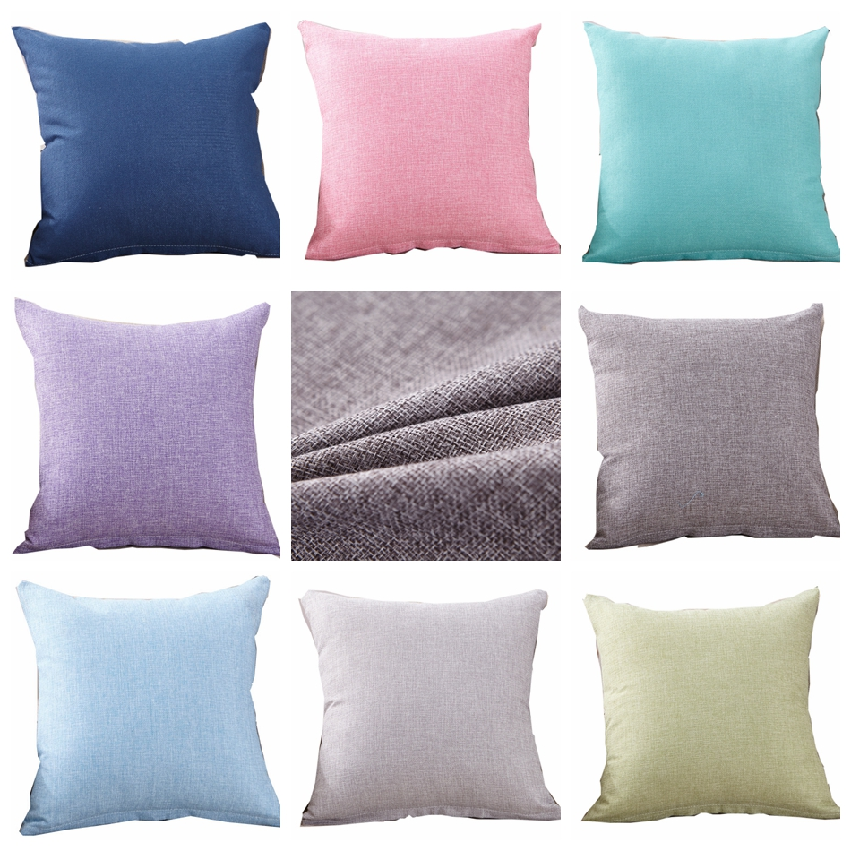 Linen Cushion Cover Pillow Covers Pillowcase Green Pink Blue Solid Home Decorative Sofa 45x45cm 40x40cm