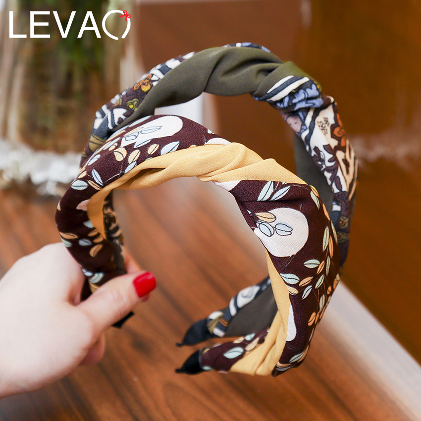 Levao 2019 Fashion Women Headband Cotton Knotted Head Bands Flower/Leaf Print Hair Hoop Headband Hair Accessories For Girls