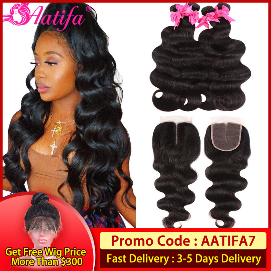 Brazilian Hair Weave Bundles With Closure Body Wave Human Hair Bundles With Closure Remy Hair 3 Bundles With Closure Aatifa