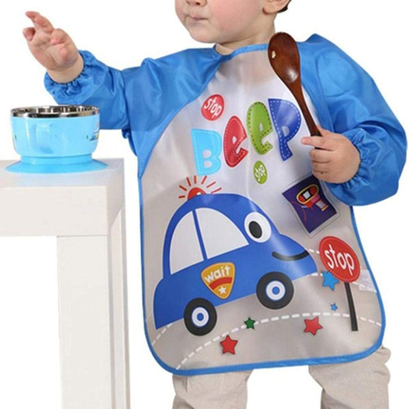 EVA Cute Cartoon Animals Baby Bibs Waterproof Colorful Children Bib Full Sleeve Bibs Children Apron Long Sleeve Feeding Bibs