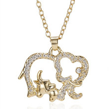 Fashion Handmade Charm Gold Color Crystal Animal Big Elephant with Baby Hollow Pendant Necklace Jewelry for Women Family Gift
