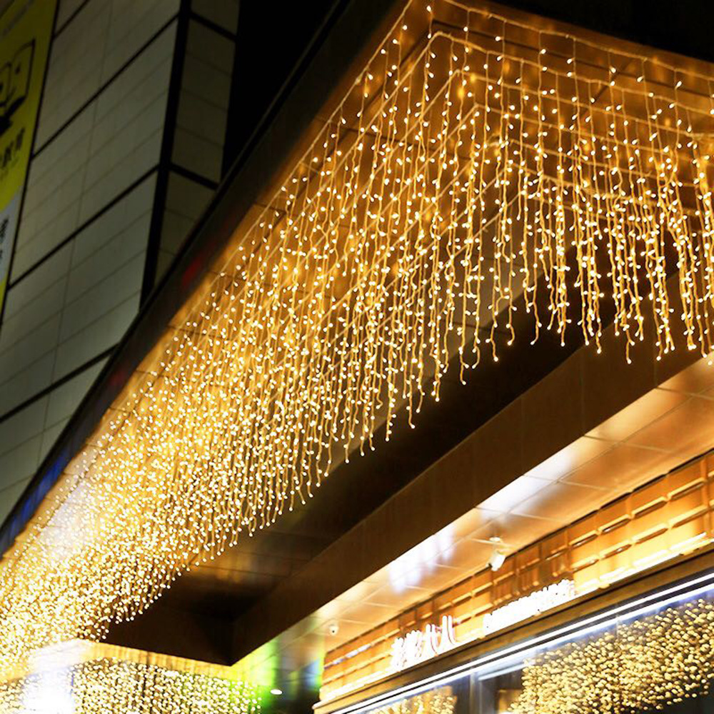 Garland Festive LED Curtain Icicle String Fairy Lights Pendant Outdoor Festival Party EU Plug 5M 96 LED 220V