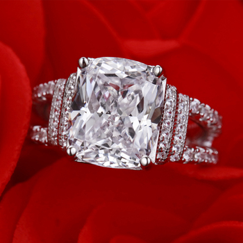 Radiant Cut 10*12mm Lab-created Diamond Ring wedding proposal brand shining fine jewelry 925 sterling silver band