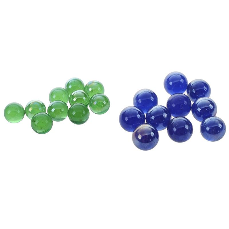 20 Pcs Marbles 16Mm Glass Marbles Knicker Glass Balls Decoration Color Nuggets Toy, 10 Pcs Green & 10 Pcs Dark Blue