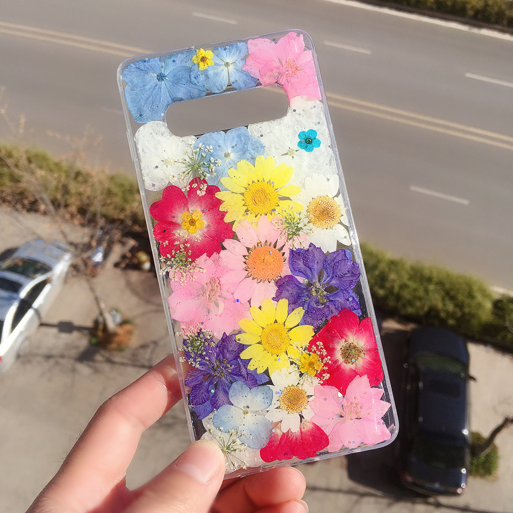 Dry Real Flower Back Cover and Soft TPU Phone <font><b>Case</b></font> for Sammung Galaxy Note10 <font><b>10</b></font>+ 9 8,<font><b>Case</b></font> Clear with Design for Girls <font><b>Women</b></font> Cute image