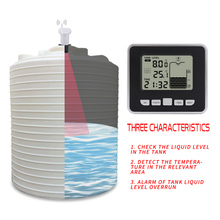Ultrasonic Tank Liquid Depth Level Meter with Temperature Alarm Water Level Gauge LCD Temperature Display Measuring Tool