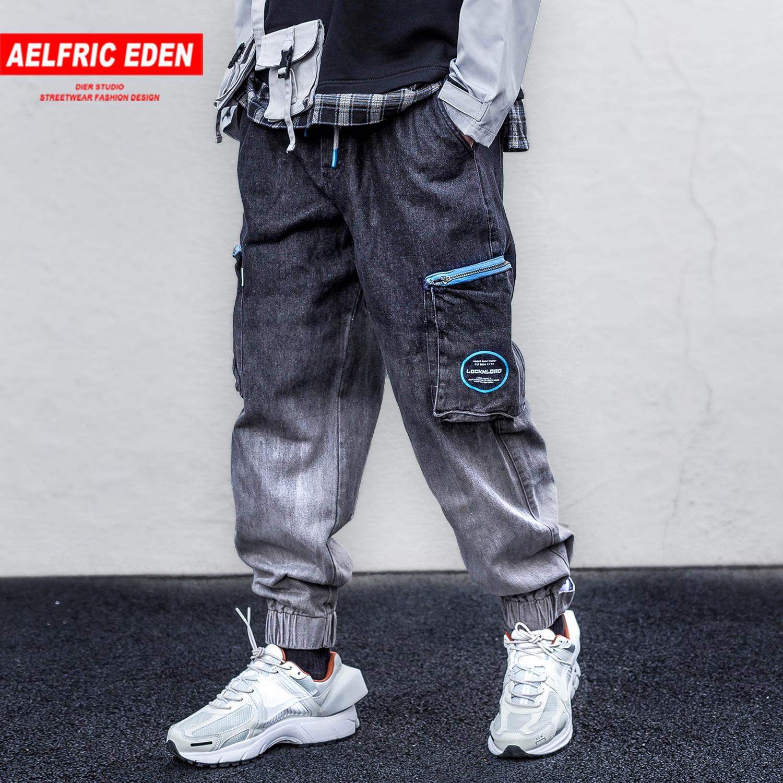 Aelfric Eden Gradient Zipper Pockets Mens Harem Cargo Pants Harajuku Hip Hop Trousers Casual Streetwear Joggers Male Sweatpants