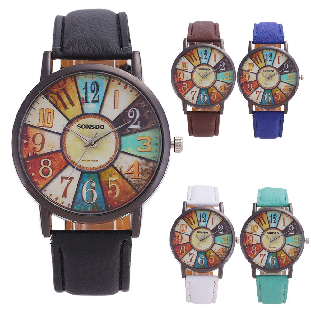 SONSDO Vintage Quarzt Watch Women Unisex Retro Harajuku Graffiti Casual Faux Leather Analog наручные часы Fashion Wrist Watch
