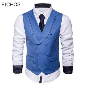 Image 1 - Мужской костюмный жилет, осенняя новая однотонная куртка без рукавов, деловой повседневный мужской жилет, черный, серый, синий Модный жилет в искусственном стиле