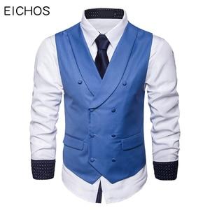 Image 1 - Mężczyźni garnitur kamizelka jesień nowa solidna kurtka bez rękawów Business Casual mężczyzna kamizelka społeczna czarny szary niebieski moda Plus rozmiar kamizelka