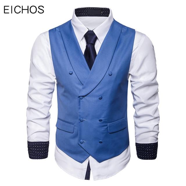Mężczyźni garnitur kamizelka jesień nowa solidna kurtka bez rękawów Business Casual mężczyzna kamizelka społeczna czarny szary niebieski moda Plus rozmiar kamizelka