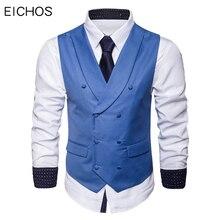 Mannen Pak Vest Herfst Nieuwe Solid Jacket Mouwloze Business Casual Mannelijke Sociale Vest Zwart Grijs Blauw Mode Plus Size Vest