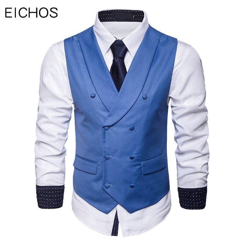 Men Suit Vest Autumn New Solid Jacket Sleeveless Business Casual Male Social Vest Black Gray Blue Fashion Plus Size Waistcoat