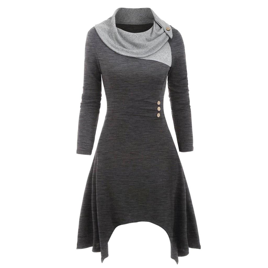 Dress Women Vestidos De Verano Vestido Vadim Ropa Mujer Dresses Vestidos Verano 2019 Mujer Casual Patchwork Long Sleeve L-5XL Z4
