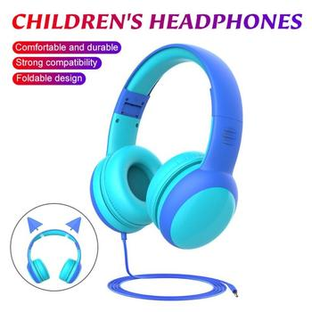 High Quality Kids Wired Headset Foldable Children Wired Headphones With Decorative Ears Limited Volu