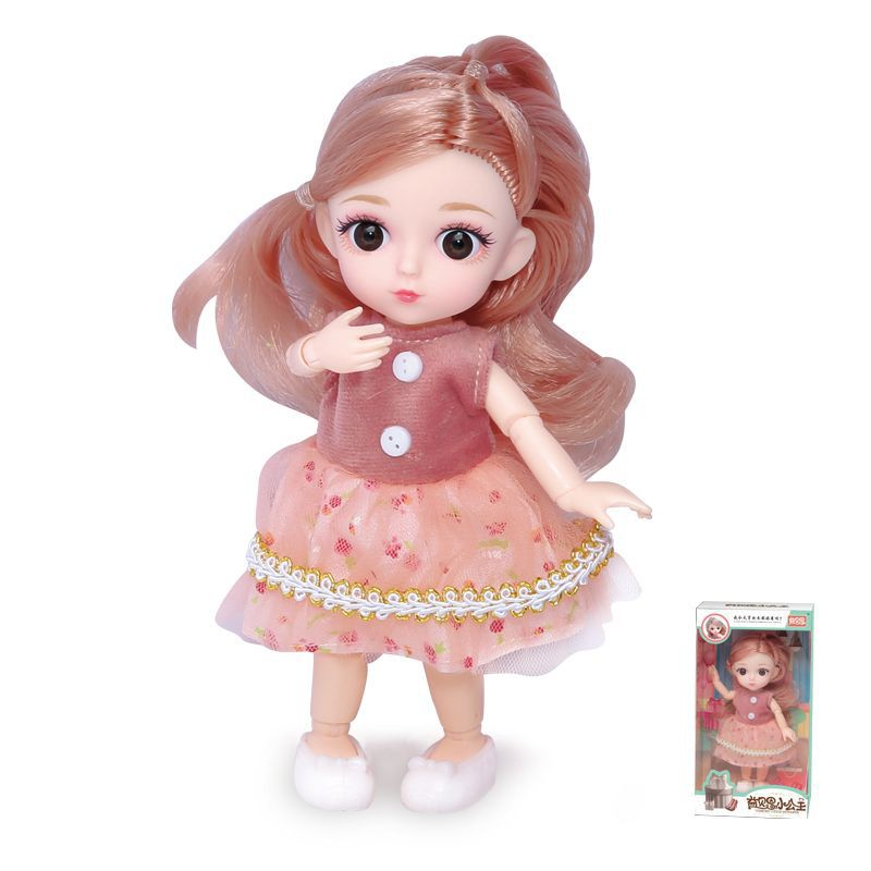 16cm/31cm Bjd Doll 12 Moveable Joints 1/12 Girls Dress 3D Eyes Toy with Clothes Shoes Kids Toys for Girls Children Birthday Gift 7