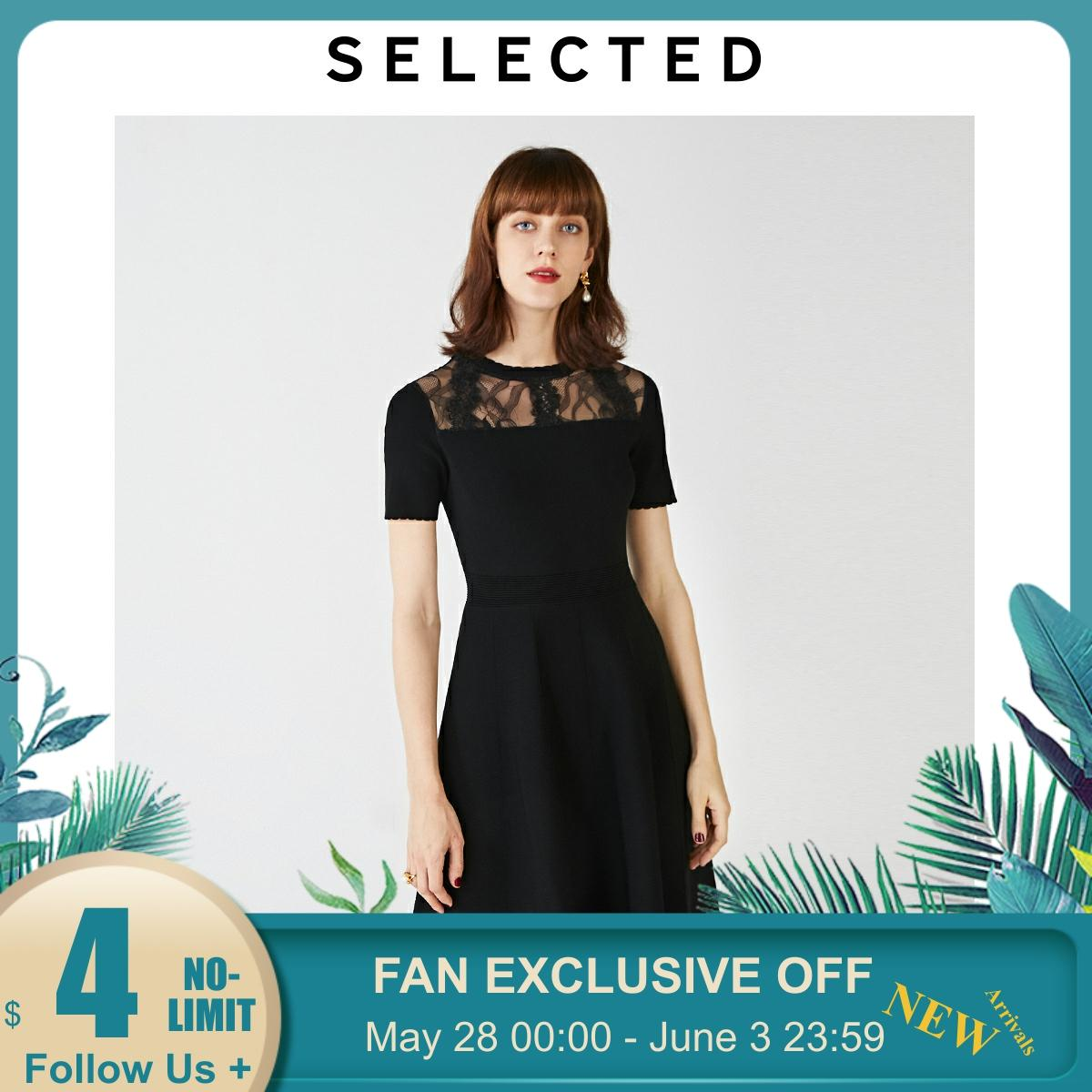 SELECTED Women's Slim Fit Lace Stitching Cut-outs A--lined Dress S|419346514【Fan Get New Arrivals Coupons in the Description image