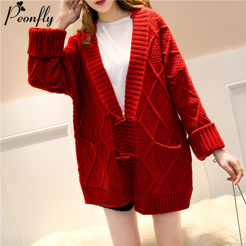PEONFLY Vintage Red Women Knitted Long Jacket 2019 Autumn Winter Long Sleeve Sweater Coat Femme Warm Cardigan Female With Pocket
