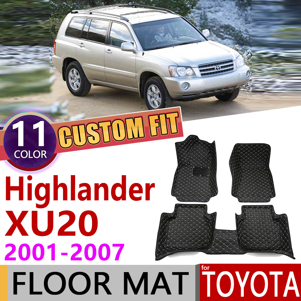 Custom Leather Car Floor Mats For Toyota Highlander Kluger XU 20 XU70 2001~2007 5Seats Foot Pad Carpet Accessories 2005 2006