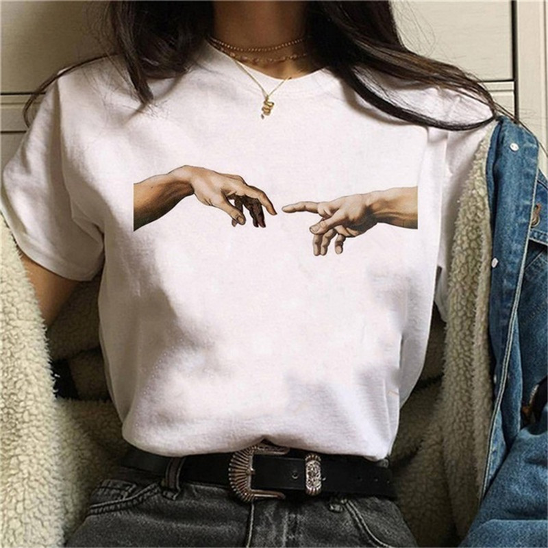 Maycaur Michelangelo T Shirt Funny Female Hands Women Tshirts Harajuku Aesthetic Graphic Tshirt Vintage Ulzzang 90s Femme Tops