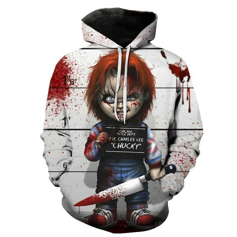 2019 새로운 도착 공포 영화 어린이 놀이 캐릭터 chucky 3d 인쇄 패션 후드 남성 여성 조커 광대 streetwear 후드